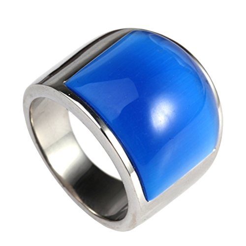 HIJONES Jewellery Mens Womens Mosaic Cat's Eye Stone Stainless Steel Opal Rings, Wide, Silver and Blue, Size W 1/2