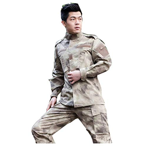 Desert Camo Tactical Suit, Herren-Tarnkampfkampfhemd mit Hose Uniform War Game Army Military Paintball Airsoft Jagdschießen Tarnanzug (größe : Xs(165-170)) -