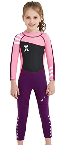 DIVE&SAIL Girls 2.5 mm Neoprene Wetsuit UPF 50+ Sun Protection Full Length One Piece Surfing Thermal Swimsuits Sunsuits