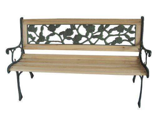 FoxHunter Gartenbank 3-Sitzer Holzbelattung Füße aus Gusseisen Rosenmuster