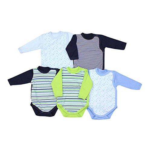 TupTam Baby Unisex Langarm Wickelbody mit Print 5er Pack, Farbe: Junge, Größe: 74