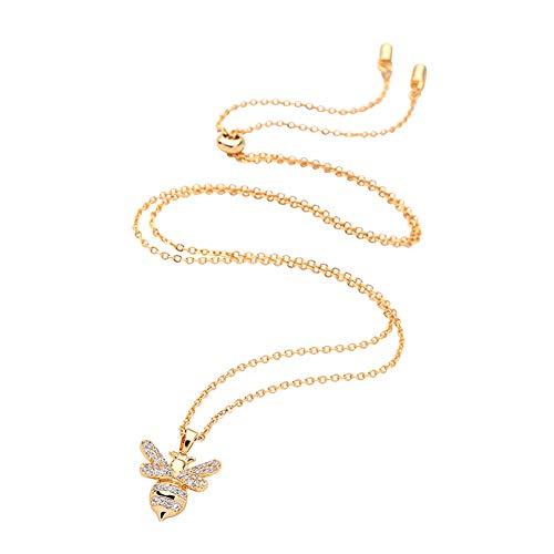 Udecoroption Biene Halskette, Frauen Anhänger Halskette für Off The Shoulder Top, V-Ausschnitt T-Shirts, Mode Halskette für GF, Mutter, Tochter