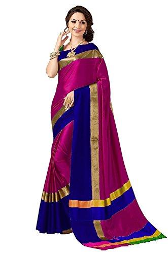 Indira Designer Women's Cotton Silk Plain Saree With Blouse (PINK-BLUE)
