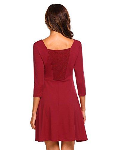Chigant Damen Herbst Winter Elegant Kleid 3/4 Ärmel Minikleid Spitze Partykleid Festlich Abendkleid Cocktailkleid Weinrot