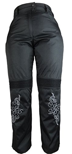 Bangla 501tribal Damen Motorrad Hose Textilmaterial Knieprotektor schwarz L