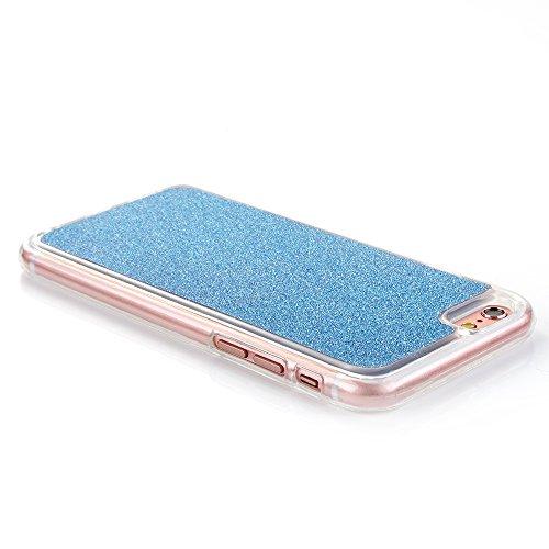 """Flexible Mat Rubber Couverture pour Apple iPhone 6Plus/6sPlus 5.5""""(NON iPhone 6/6s 4.7""""), CLTPY Mignon Dessin Arrière avec Détachable Scintillement Anti Scratch Pare-chocs avec Support de Bague pour i Blue"""