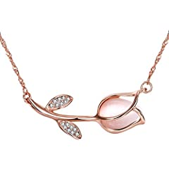 Idea Regalo - Placcato Oro Rosa Tulipano Opale Collana Ciondolo a Forma di Fiore con Zirconi per Donne