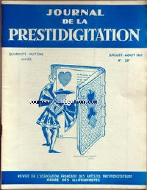 JOURNAL DE LA PRESTIDIGITATION [No 257] du 01/07/1967 - DESSIN DE MAURICE MEJEAN. par Collectif
