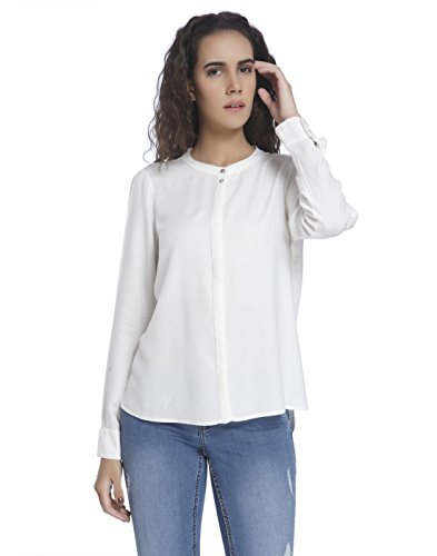 VERO MODA VMCATHY LS SHIRT NOOS, Blouse Femme, Blanc (Snow White), 40 (Taille fabricant: Large)