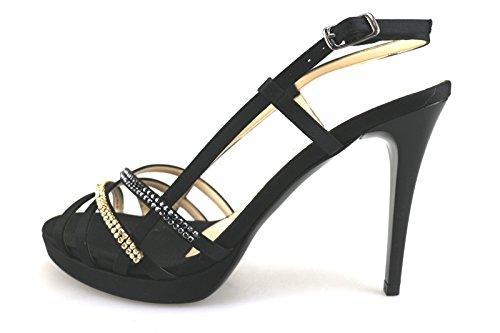 ALBANO 39 EU sandali donna nero seta swarovski AG199