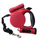 NAttnJf Automatischer Stretch-LED-Taschenlampen-Hund, der Seilzugseil-Haustier-Versorgungsmaterialien schleppt Rot