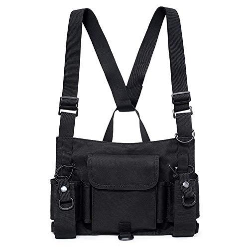 AFfeco Wearable Outdoor Combat Schwarze Weste Brusttasche Reflexstreifen Hip-Hop-Weste