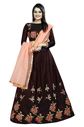 Alazra Creation Women\'s Silk Semi-Stitched Lehenga Choli (Brown_ Free Size)