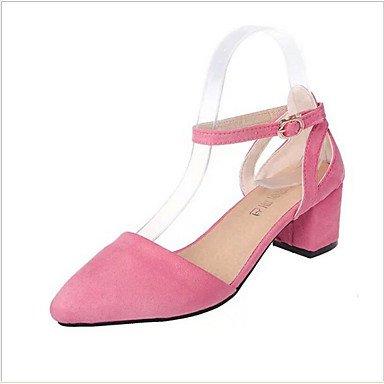 Talloni delle donne Primavera Estate Autunno Club Scarpe Comfort cinturino alla caviglia in PU Suede ufficio Wedding & Party Carriera & abito da sera casuale tacco grosso Pink