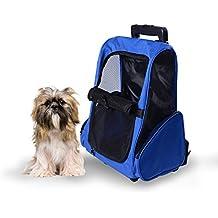 Transportin Carrito Perro 2 en 1 Mochila Carrito 36x30x49 cm Mascotas Perro Gato Azul