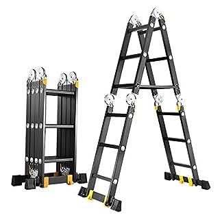 Jianghuayunchuanri Escalera telescópica Multifuncional Escalera de Aluminio Andamios con Patas estabilizadoras