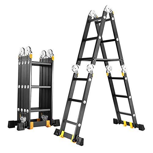Verlängerung Leiter Erweiterte Bodentreppe Dekorativen Aluminiummehrzweckklappwerkzeug Folding Schiebeleiter (Farbe : A, Größe : 5.8M)