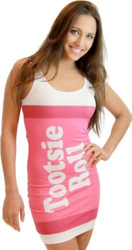 Tootsie Kostüm - TV Store Tootsie Roll Fruit Rolls Candy Cherry Pink Kostüm Tank Kleid (Kinder X-Large)