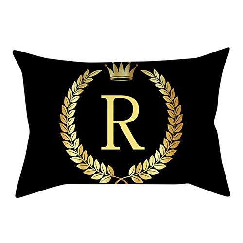 30 cm x 50 cm Noir taie d'oreiller Couvre Couvre Oreiller Noir et Or Lettre Impression taie d'oreiller canapé Housse de Coussin décor à la Maison Bellelo
