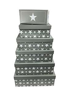 6tlg geschenkboxen set sterne grau for Geschenktrends shop