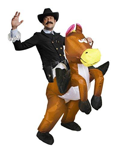 Pferd Sheriff Kostüm - COWBOY SHERIFF KOSTÜM VERKLEIDUNG=AUFBLASBARES PFERD GEBLÄSE BATTERIE + FRACK JACKE + SCHWARZER COWBOY HUT + COWBOY HALSBAND + PISTOLEN HALTER IN STANDART ODER XLARGE=FRACK/LARGE+HALTER/XLARGE
