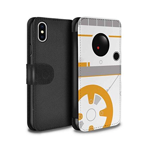 Stuff4® PU-Leder Hülle/Case/Tasche/Cover für Apple iPhone X/10 / BB Droid Kunst Inspiriert Muster/Nette Sci-Fi Gesichter Kollektion (X-fall Droid)
