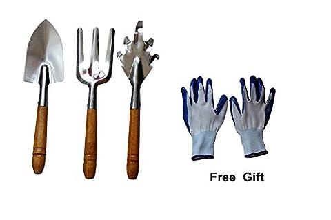 Magic 78outils de jardinage/outils de plantation en acier inoxydable Lot de 3Pièces avec poignée en bois (Truelle, fourchette, et râteau) et Gratuit Gants de