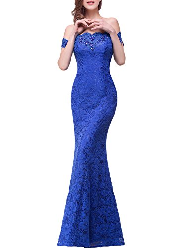 Azbro Women's Elegant off Shoulder Lace Evening Mermaid Dress Burgundy