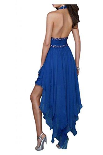 Toscana sposa general-case Neck cantore Hi-Lo Chiffon sera vestimento per toccare un'ampia Party ball sposa giovane vestimento Blu Royal