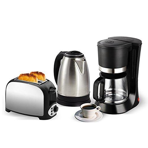 Set klein - Toaster 2 Schlitze Edelstahl + Wasserkocher Edelstahl 1,8 l + Kaffeemaschine 12 Tassen -