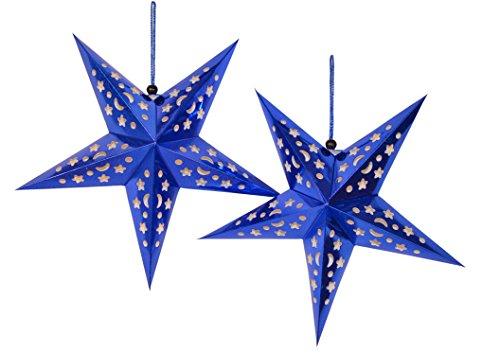 fensterstern FiveStar Premium Papiersterne, Party Deko, 2 Stück Durchmesser: 45cm Weihnachtsdeko Deko-Stern Fensterstern Paper Star in Verschiedenen Farben (Blau)