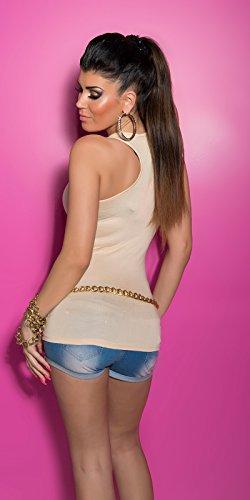 Koucla bretelles-top pour femme avec strass doré chaîne & taille unique (32–38) Beige - Beige