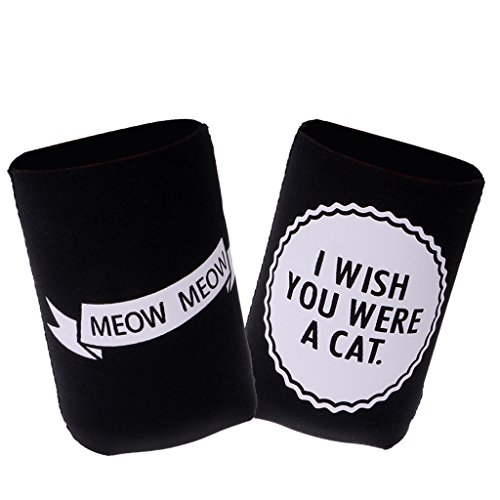 41jWeIKwCnL. SS500  - Sharplace I WISH YOU WERE A CAT, MEOW MEOW Set Funny Stubby Beer Tin Can Cooler Sleeve Wedding Party Accessories
