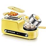 Wjsw Toaster Eierkocher und Wilderer, Home-Multifunktions-Frühstück Fahrer-Toaster - 1200 W, 2 Slice, Leuchtend Gelb