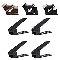 GEMITTO Adjustable Shoe Slots Organizer, Space Saver Shoe Holder, Smart Shoe Organizer, Double Shoe Slot,ABS Anti Slide Shoes Storage Rack for Men Women Black