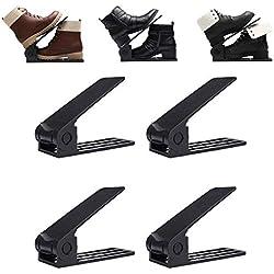 GEMITTO 4 pièces Support à Chaussures Réglables, très Bonne qualité Organisateur de Chaussures Anti à glissière ABS Plastique Couche Double Étagère de Stockage Noir