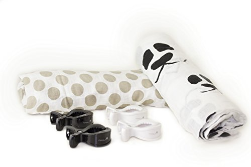 Nayla Baby Set Mulltücher und Clips, Panda & Dots