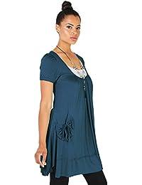 KRISP® Femmes Tunique Unie Robe 2 en 1 Avec Collier