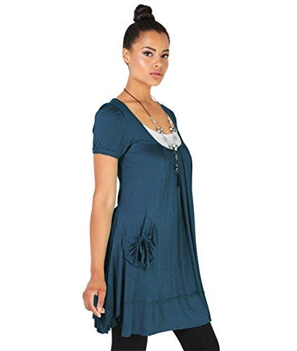 KRISP® Femmes Tunique Unie Robe 2 en 1 Avec Collier Bleu turquoise (3303)