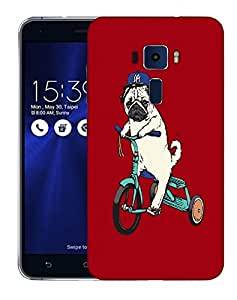 Snoogg Pug Riding Cycle Designer Protective Back Case Cover For ASUS ZENFONE 3 ZE520KL