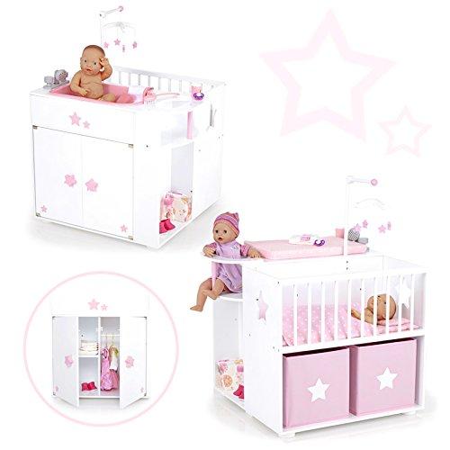 SUN Großes Puppenpflegecenter 5in1 Sternchen aus Holz (Weiß-Rosa)