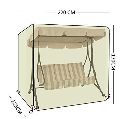 OOFIT Schutzhülle für 3-Sitzer Hollywoodschaukel Spitzdach 600D Oxford Schwer Pflicht mit Reißverschlüssen, 220cm L x 170cm H x 125cm W,Grau