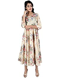 ANAYNA Women Cotton Printed Anarkali Long Kurta With Umbrella Cut (Beige)