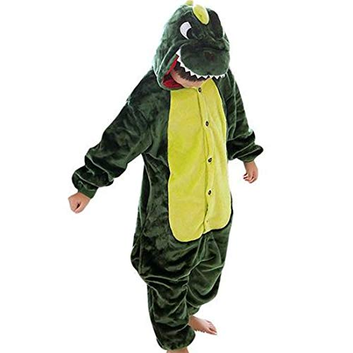 GWELL Kinder Kostüm Tier Kostüme Schlafanzug Mädchen Jungen Winter Nachtwäsche Tieroutfit Cosplay Jumpsuit grün Dinosaurier Körpergröße 105-114cm (Kleine Dinosaurier Kostüm)