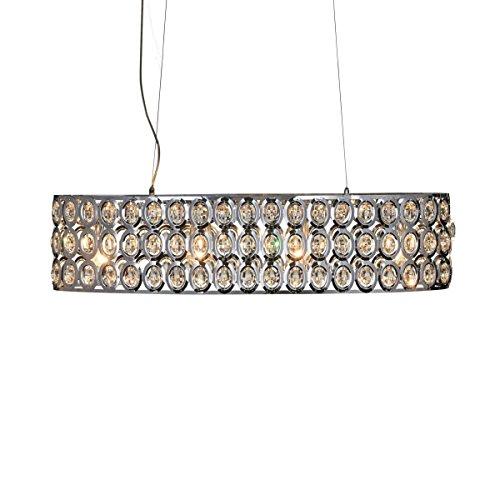 miaVILLA Deckenleuchte King - Hängelampe mit Glaskristallen - Chrom - Breite ca. 80 cm