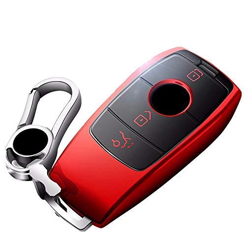 WAVENI Mercedes Benz Llavero Cubierta de protección Completa Caja de Llavero con Llavero Control Remoto Compatible Smart E Series S320L / E300l E200L / E320L (Color : Red, Style : with Metal)