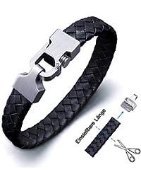 Amtier Bracelet de Poignet en Cuir Tressé Tressé pour Homme Bracelet Ajustable avec Fermoir Poussoir-verrou