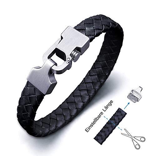 Amtier Armband Männer Leder Einstellbarem Mit Geschenkbox, Herren Geflochtenes Armbänder mit Push-Lock-Verschluss - 21cm