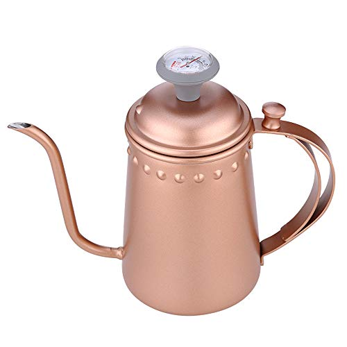 Stainless Steel Coffee Pot with Thermometer, Long Mouth, Fine Mouth, Hand, Haste, Domestic Milk Pot (Color: Gold)