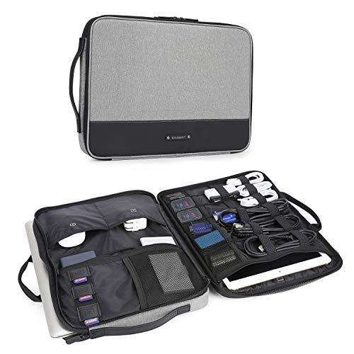 BAGSMART Laptop Tasche Schutztasche mit Elektronik Zubehör Organizer, Notebooktasche mit 2 Henkel für 13-14 Zoll Laptop, 12.9 Zoll Tablet Kabel Ladegerät Netzteil Maus Powerbank, Grau - 14 Zoll Laptop-tasche